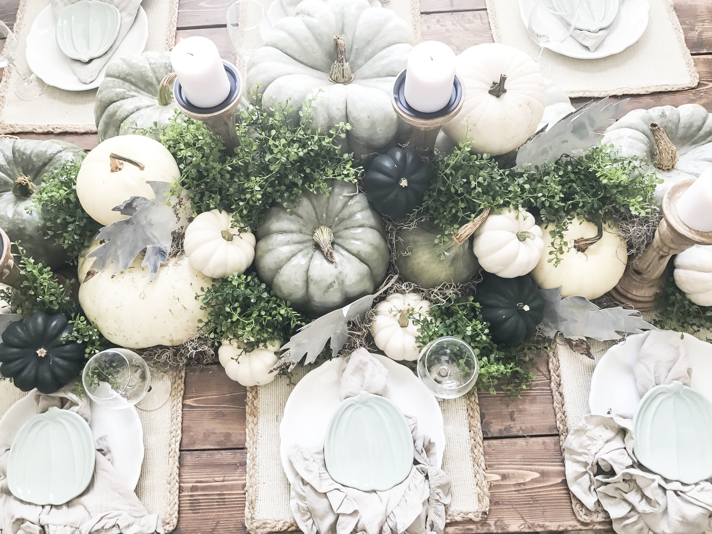 Fall Home Tour inside Plum Pretty Decor and Designs Fall Home- Dining Room Tablescape with Pumpkins and Metal Leaves