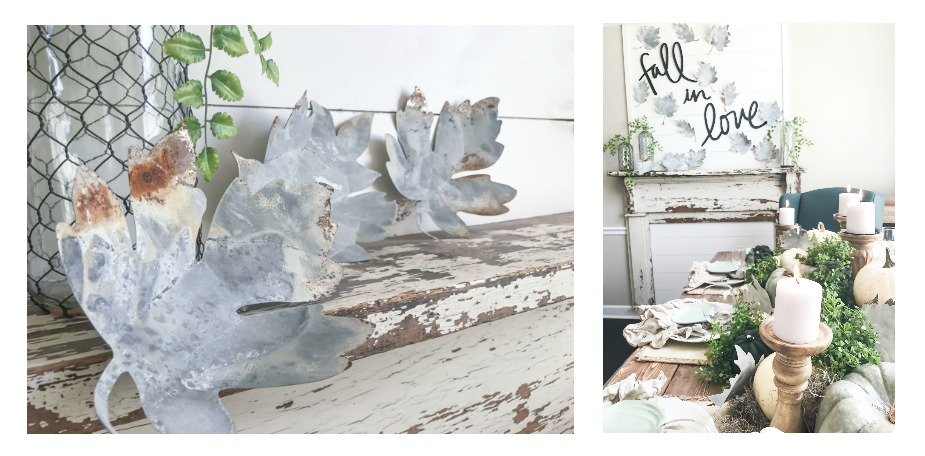 """Fall Home Tour inside Plum Pretty Decor and Designs Fall Home- Metal Leaves and """"Fall in Love"""" Mantel Decor"""