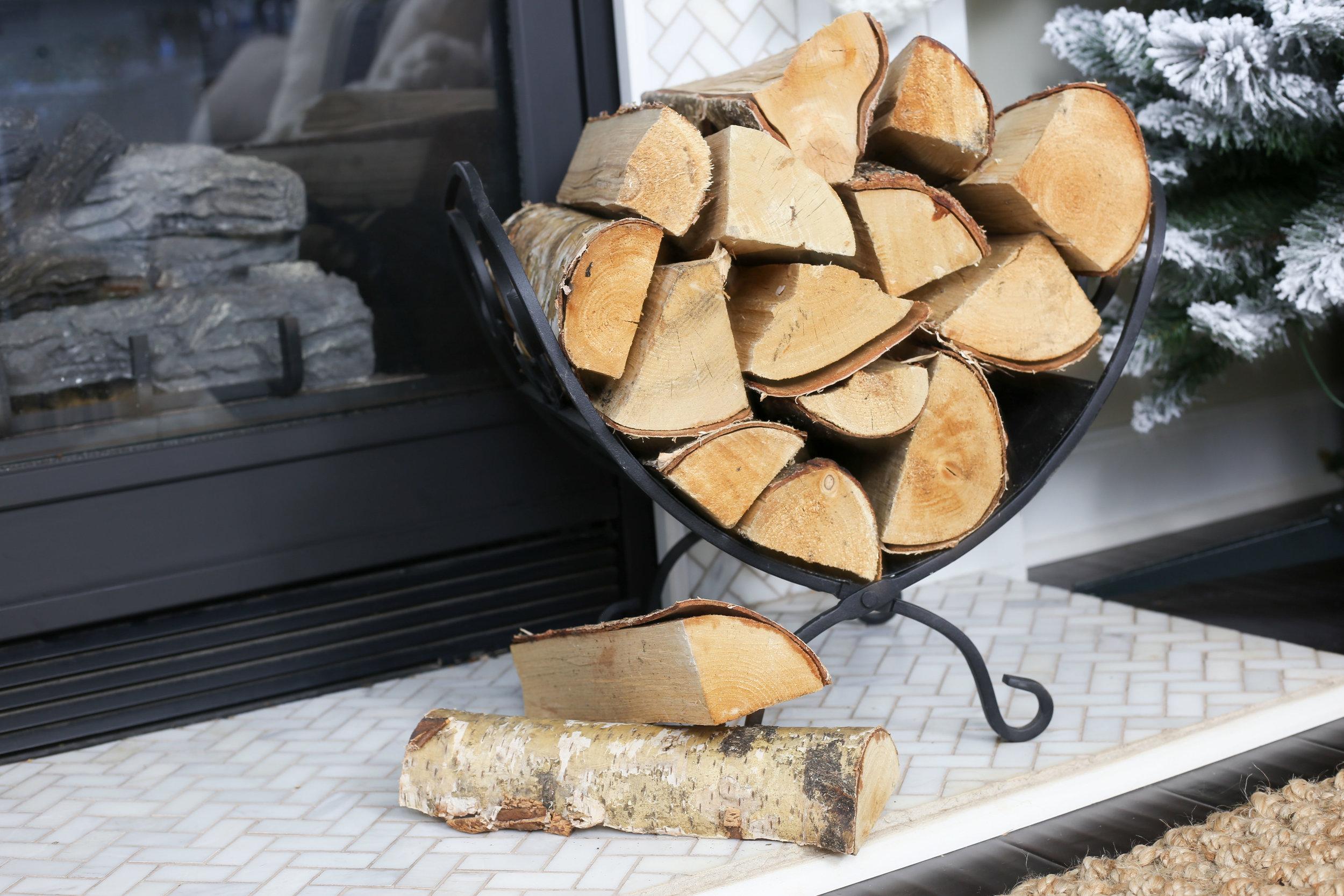 Christmas 2017 Home Tour: Deck The Blogs- Fireplace Decor with wood logs- Plum Pretty Decor & Design's Christmas Home Tour