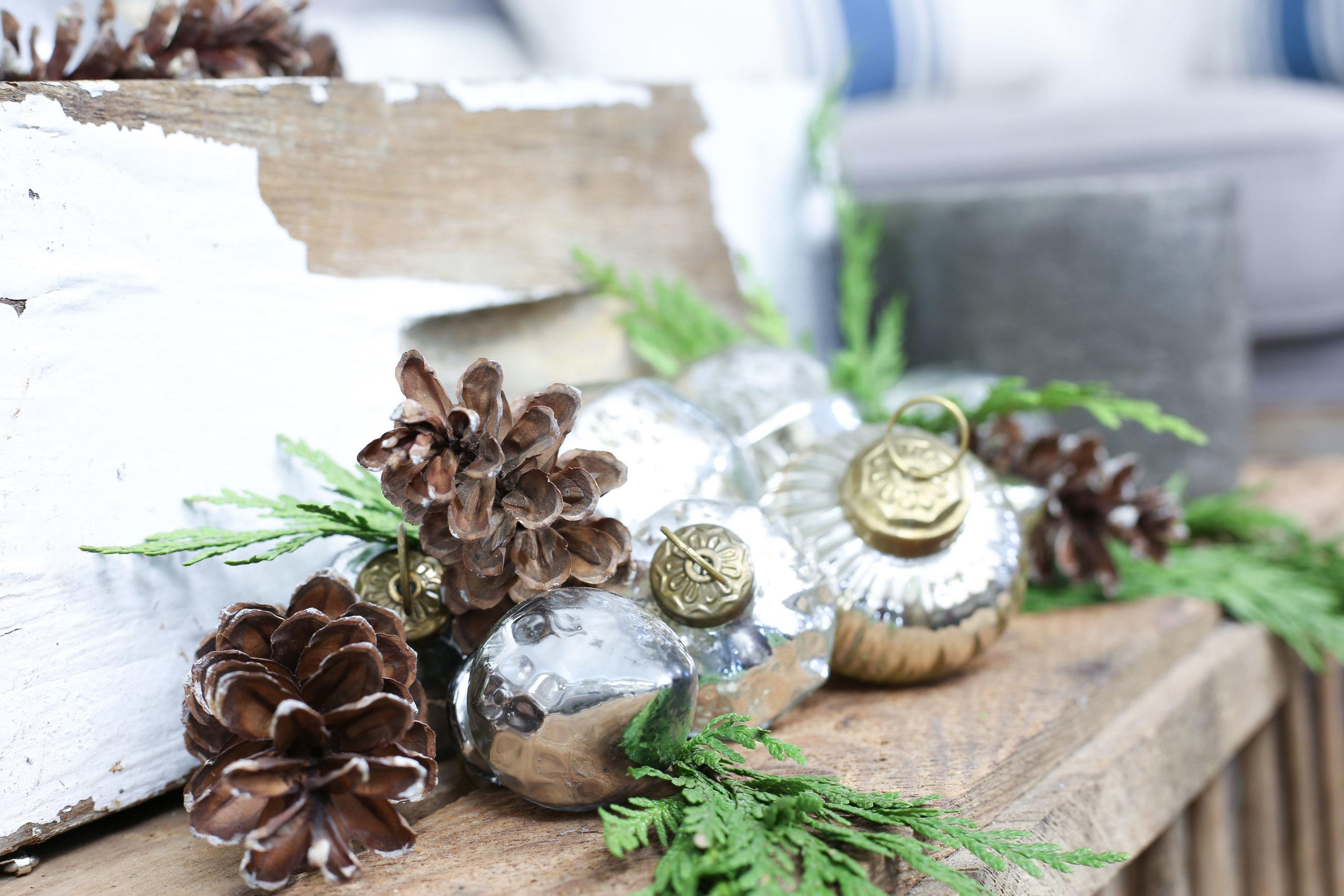 Christmas 2017 Home Tour: Deck The Blogs- Neutral Decor Mercury Glass Ornaments- Plum Pretty Decor & Design's Christmas Home Tour