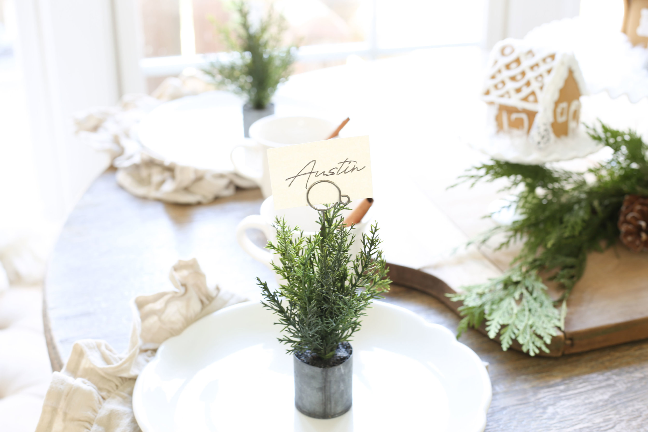 Christmas 2017 Home Tour: Deck The Blogs- Place Setting with Place Card Holder- Plum Pretty Decor & Design's Christmas Home Tour
