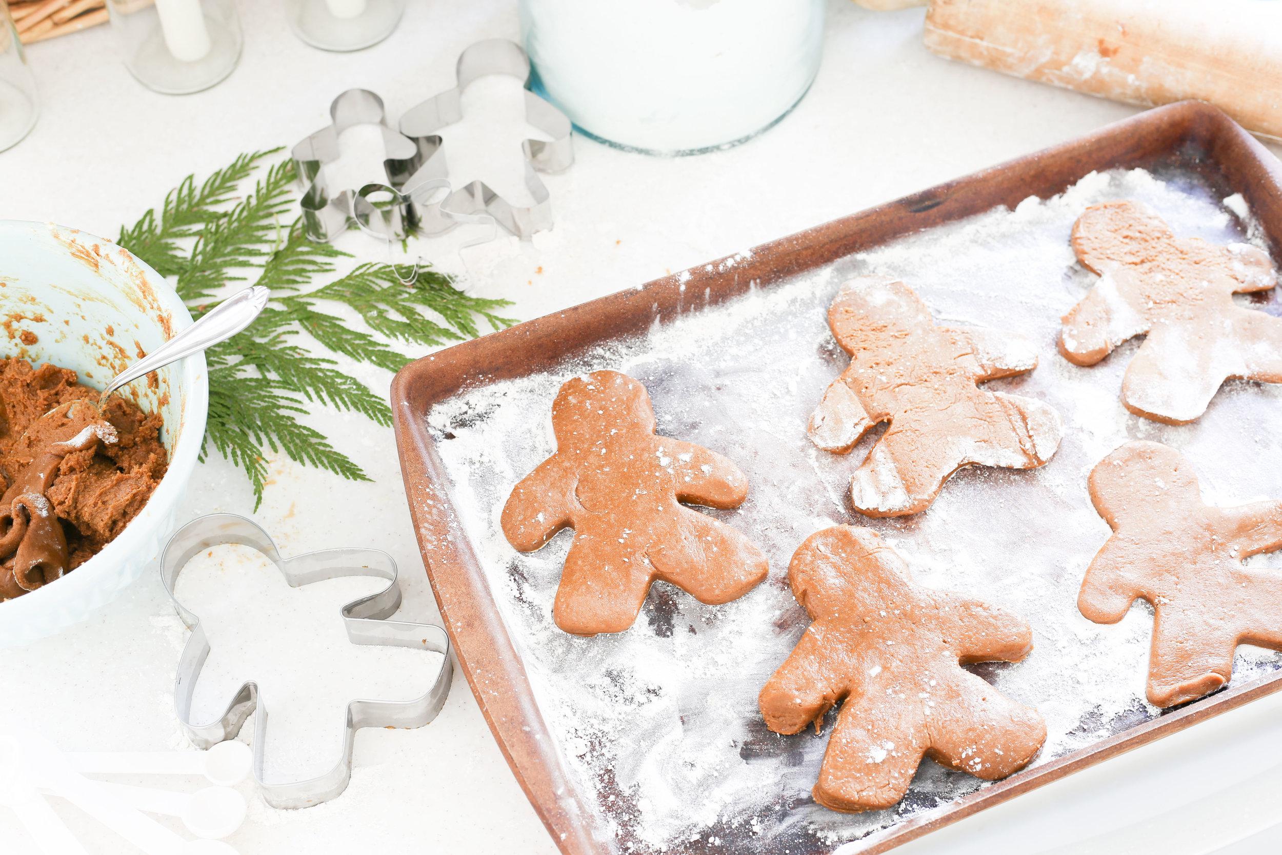 Christmas 2017 Home Tour: Deck The Blogs- Baking Gingerbread Men in the Kitchen- Plum Pretty Decor & Design's Christmas Home Tour