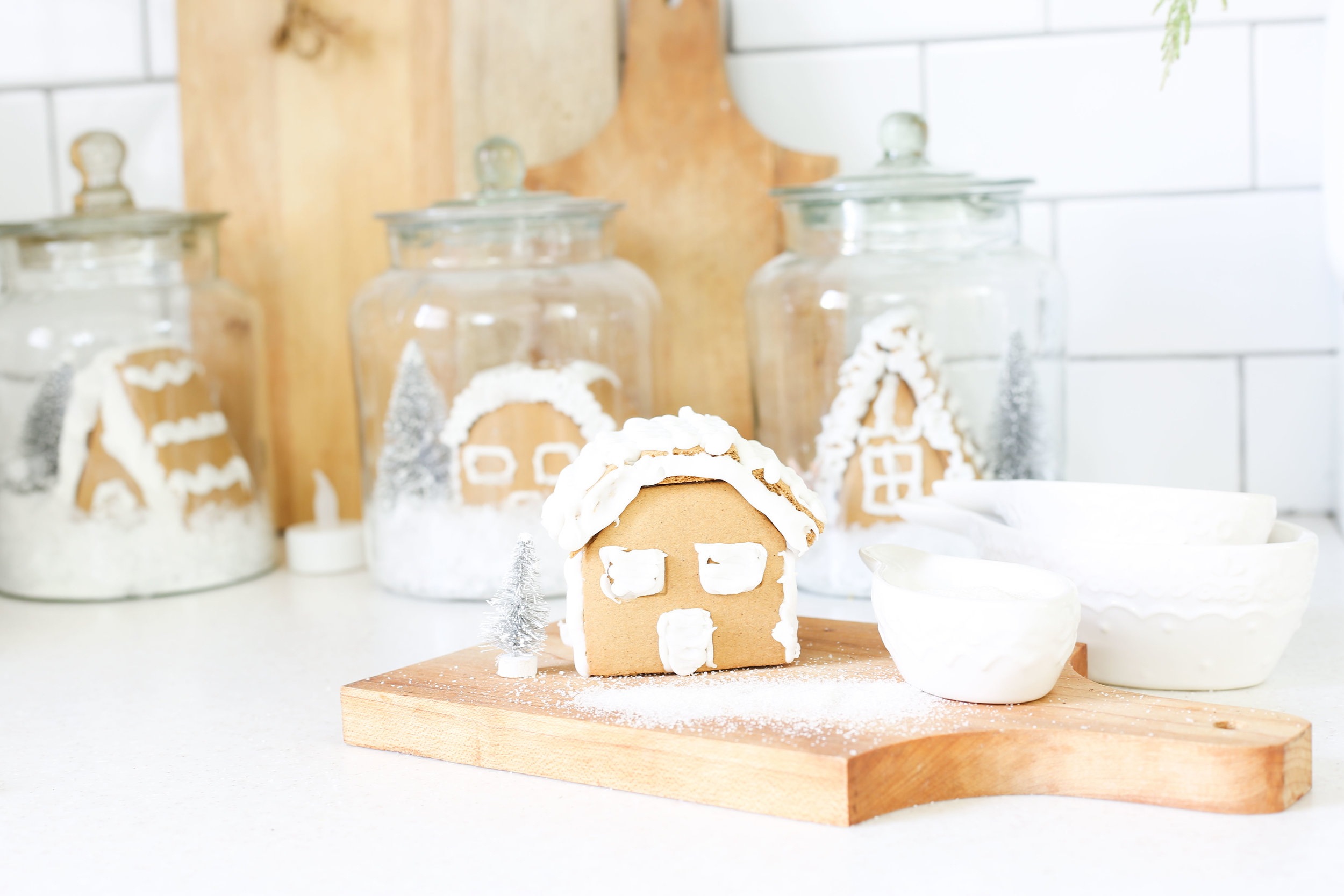 Christmas 2017 Home Tour: Deck The Blogs- Kitchen Decor with Gingerbread Houses in Jars- Plum Pretty Decor & Design's Christmas Home Tour