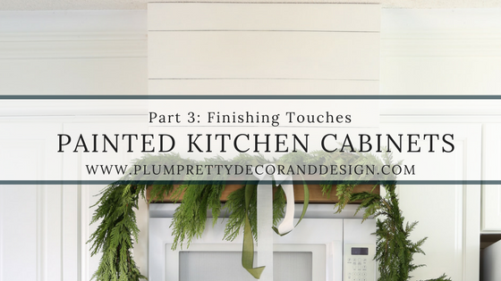 Painted Kitchen Cabinets Series: Finishing Touches include Soffit Covering, Subway Tile, and a Custom Hood Above Microwave.