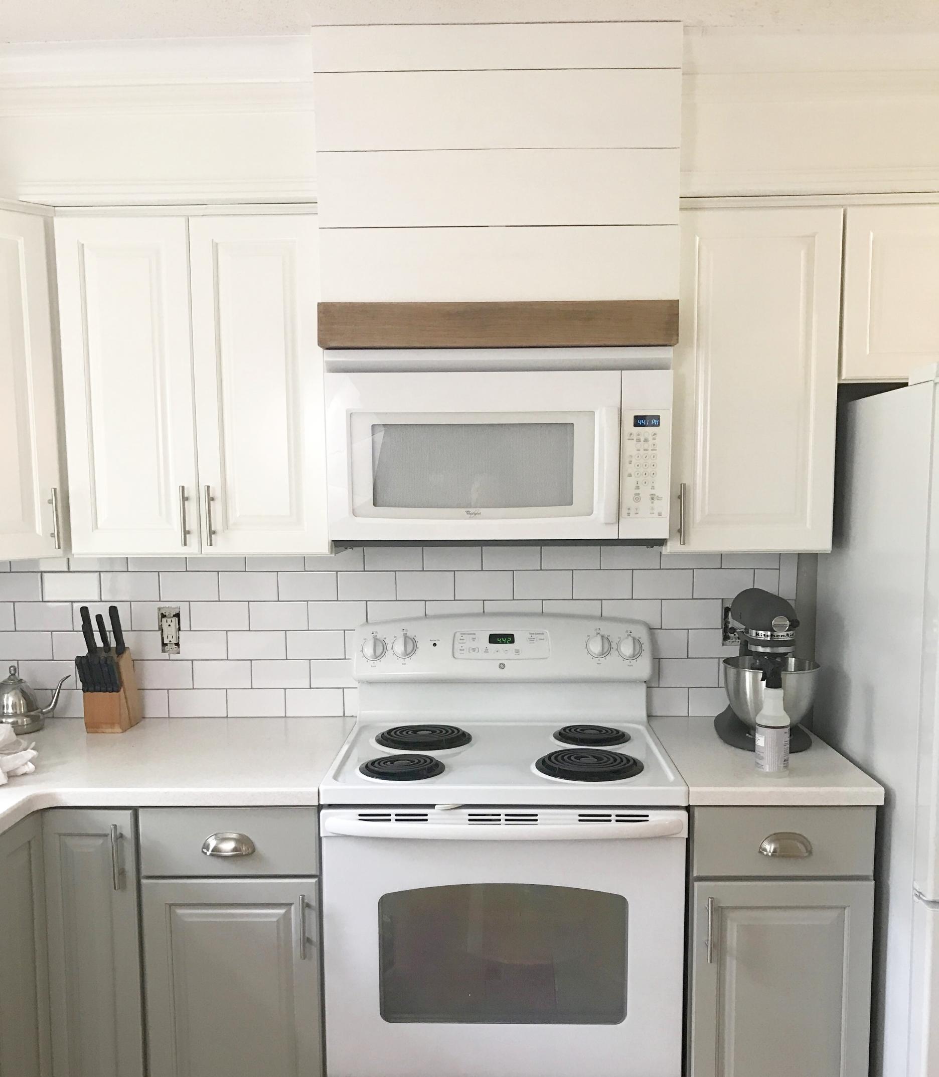 Faux Custom Hood Above Microwave DIY Kitchen Remodel