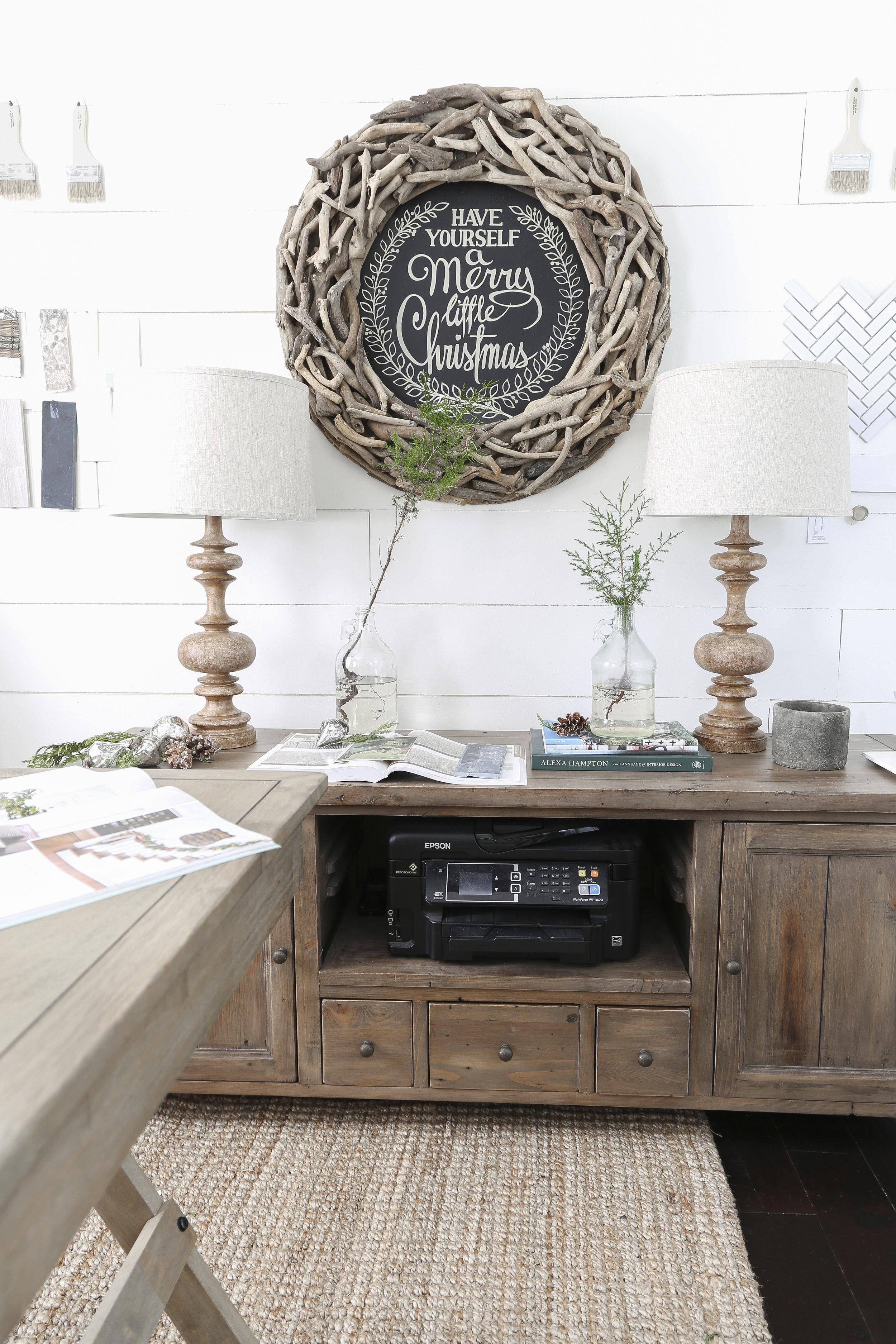 Christmas Home Tour- Holiday Office Decor- Wood Christmas Sign- Plum Pretty Decor & Design