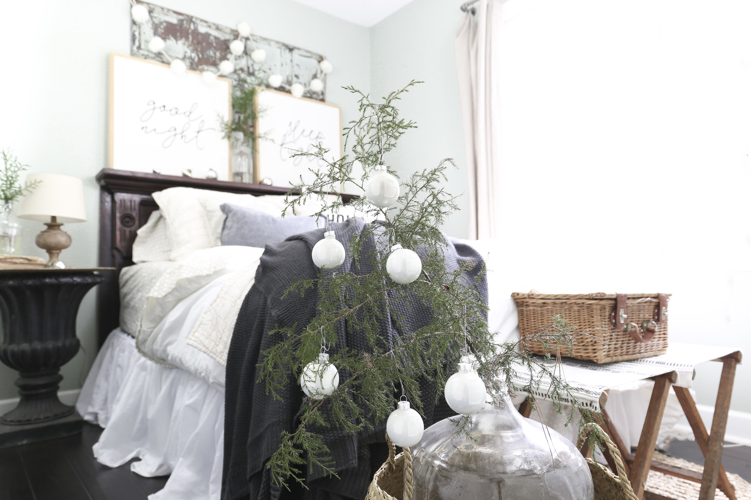 Christmas Home Tour- Guest Bedroom with a Charlie Brown Christmas Tree- Plum Pretty Decor and Design