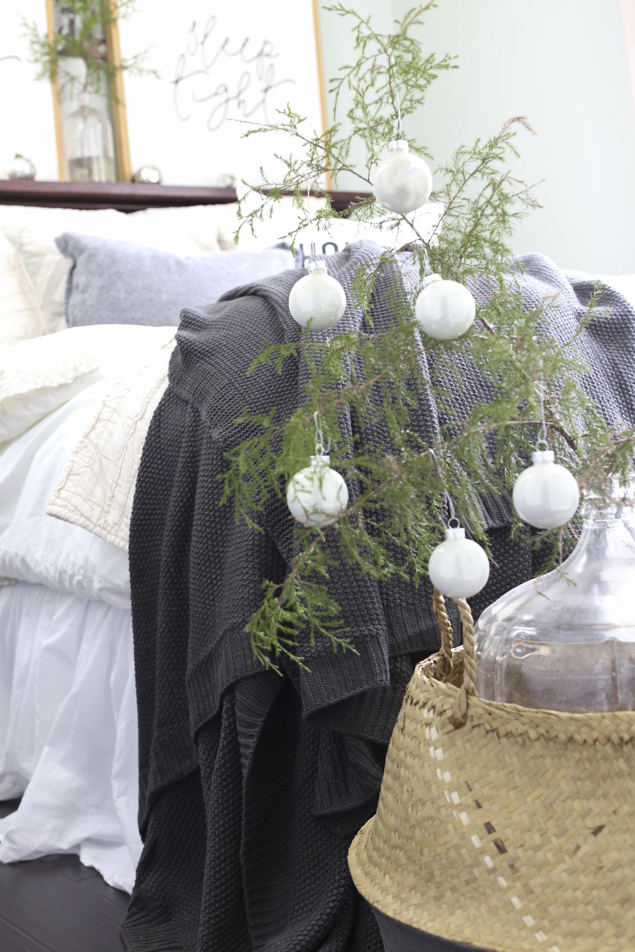 Christmas Home Tour- Guest Bedroom Christmas Decor- Christmas Tree in Basket- Plum Pretty Decor and Design