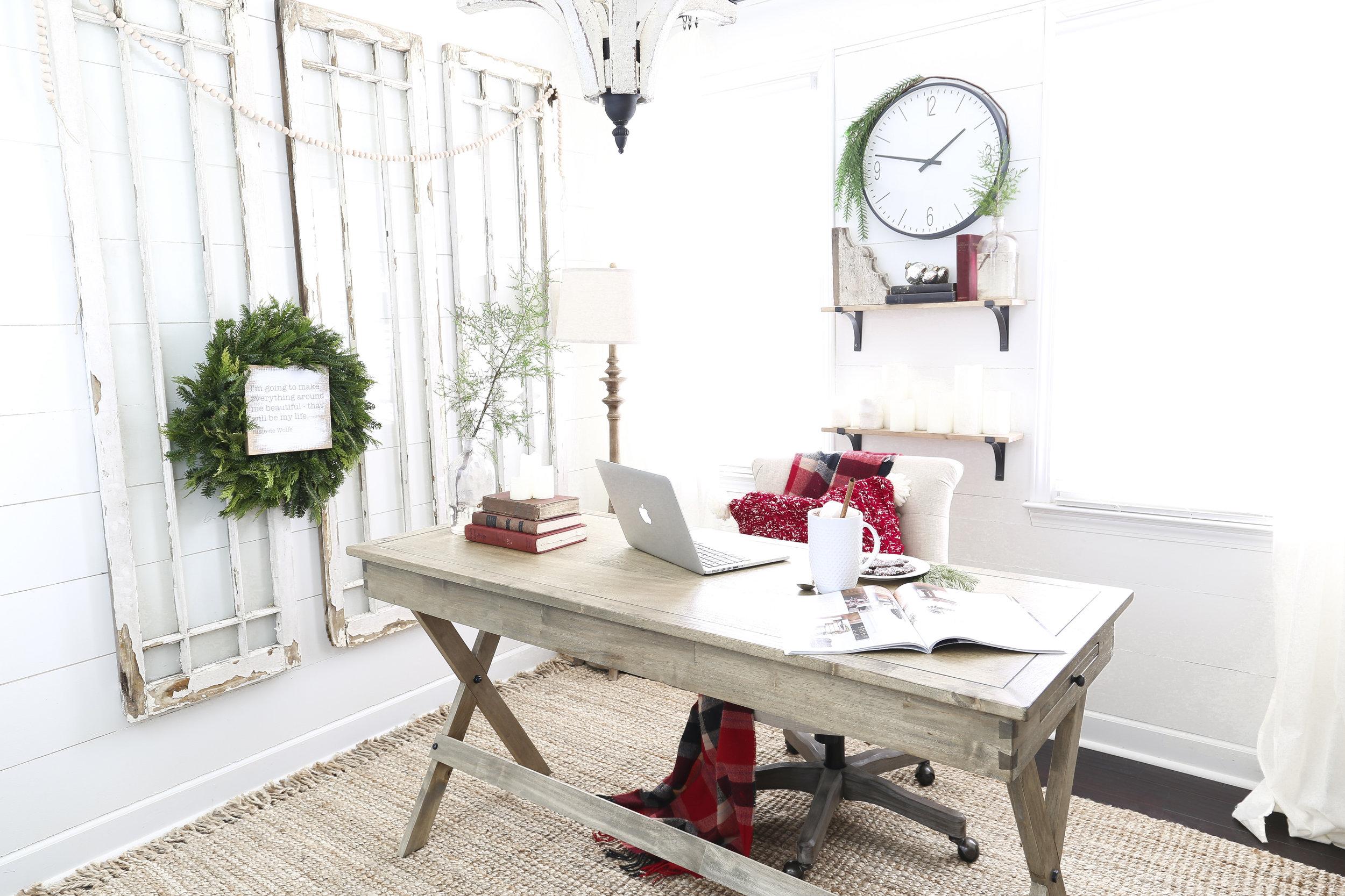 Christmas Home Tour- Holiday Office Decor