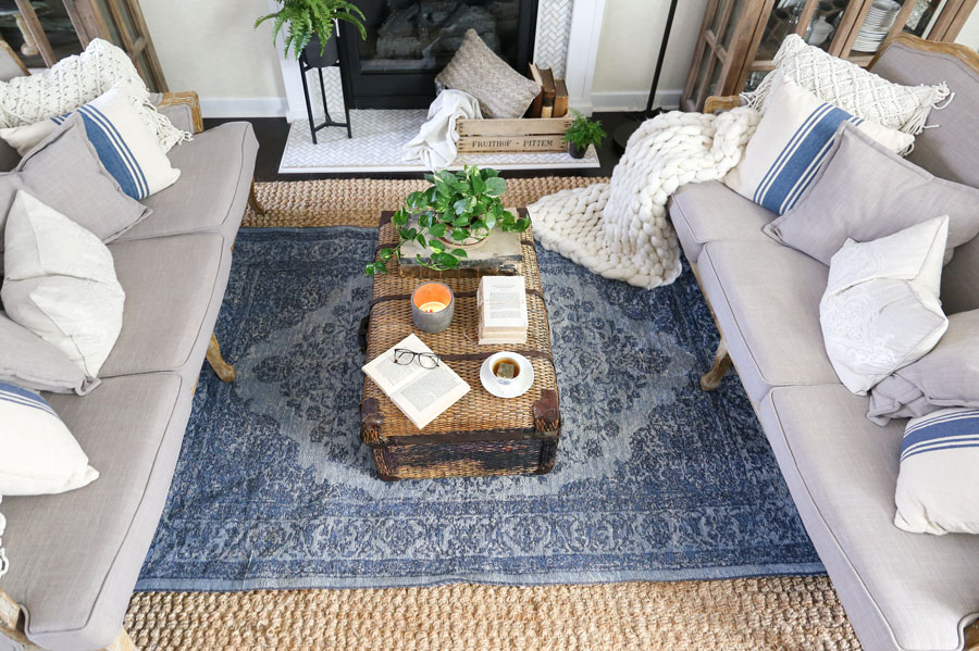 HomeGoods Modern Farmhouse Style Living Room Makeover with a Vintage Rug by Plum Pretty Decor & Design Co.
