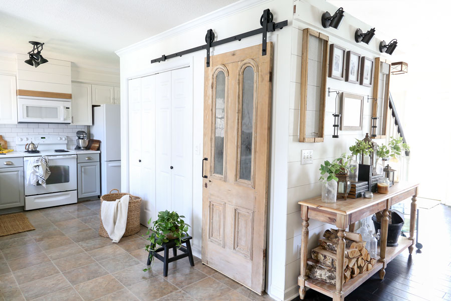 Antique Pantry Door on Sliding Barn Door Hardware with Full Installation Instructions- By Plum Pretty Decor & Design Co.