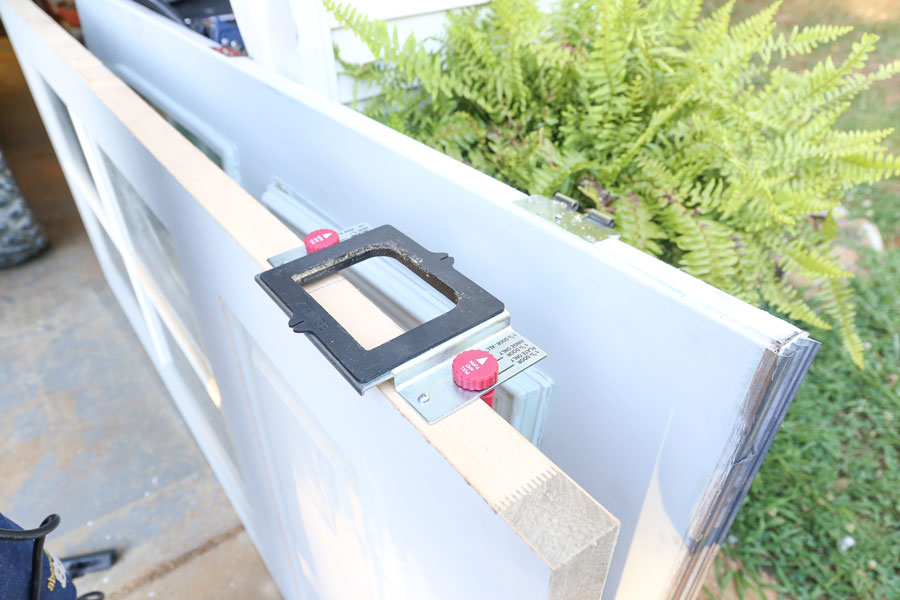 How to install an exterior front door using a hinge kit.