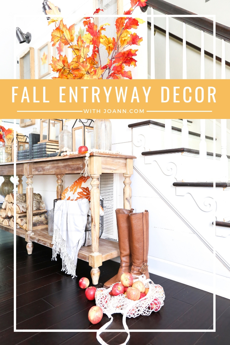Fall entryway decor with traditional fall colors- orange, yellow, and red. The perfect decor to transition your entryway into FALL with items from Joann.com. By Plum Pretty Decor & Design.