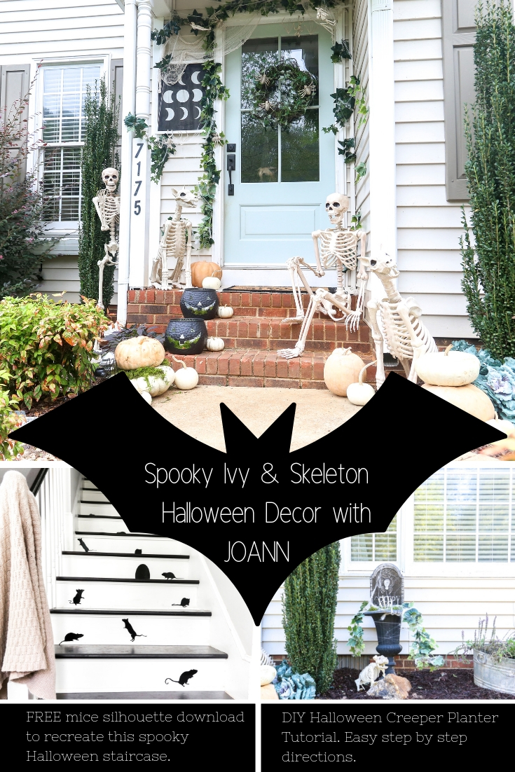 """A """"Spooky Ivy and Skeleton"""" Neutral Front Porch with JOANN. View this entire look and see how you can recreate it on your own on Plum Pretty's Blog. #ad #handmadewithjoann"""