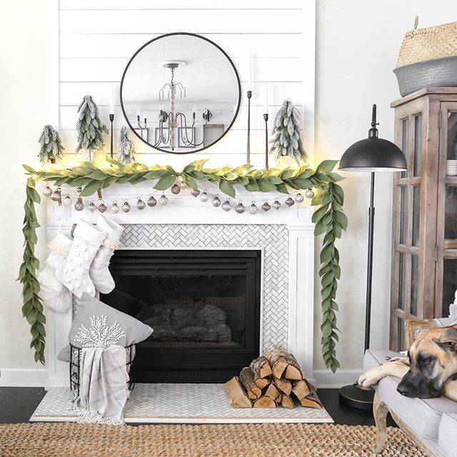 """Simple, cozy, and Charlotte approved!  I had so much fun creating this look with @Joann_stores. You see that garland?! It's felt and I did a full tutorial on how to make it. You see those gorgeous stockings?! I made them from craft stockings and various material I found in the craft and fabric section at Joann. They are so easy and only take minutes to make- no sewing required. And the best part is they are cost less than $10 to make! Let's just say I got a little crafty.  Head over to the link in my profile, click it, scroll down to """"recent blog post,"""" and you can find the full reveal there along with the tutorials for the garland and stockings. . . . #ad#handmadewithjoann#Christmasmantel#Christmasdecor#neutralchristmasdecor#christmasstockings#christmasmantle#christmasdiy#christmascrafts#diyfeltgarland#diygarland#bhghome#bhgcelebrate#thecottagejournal#cozychristmas"""
