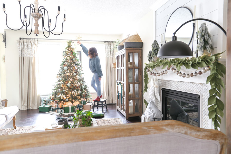 Trimming the Tree with JOANN- Tips for styling a modern neutral Christmas Tree- with Marble Ornament DIY and a Tassel Tree Skirt Tutorial.