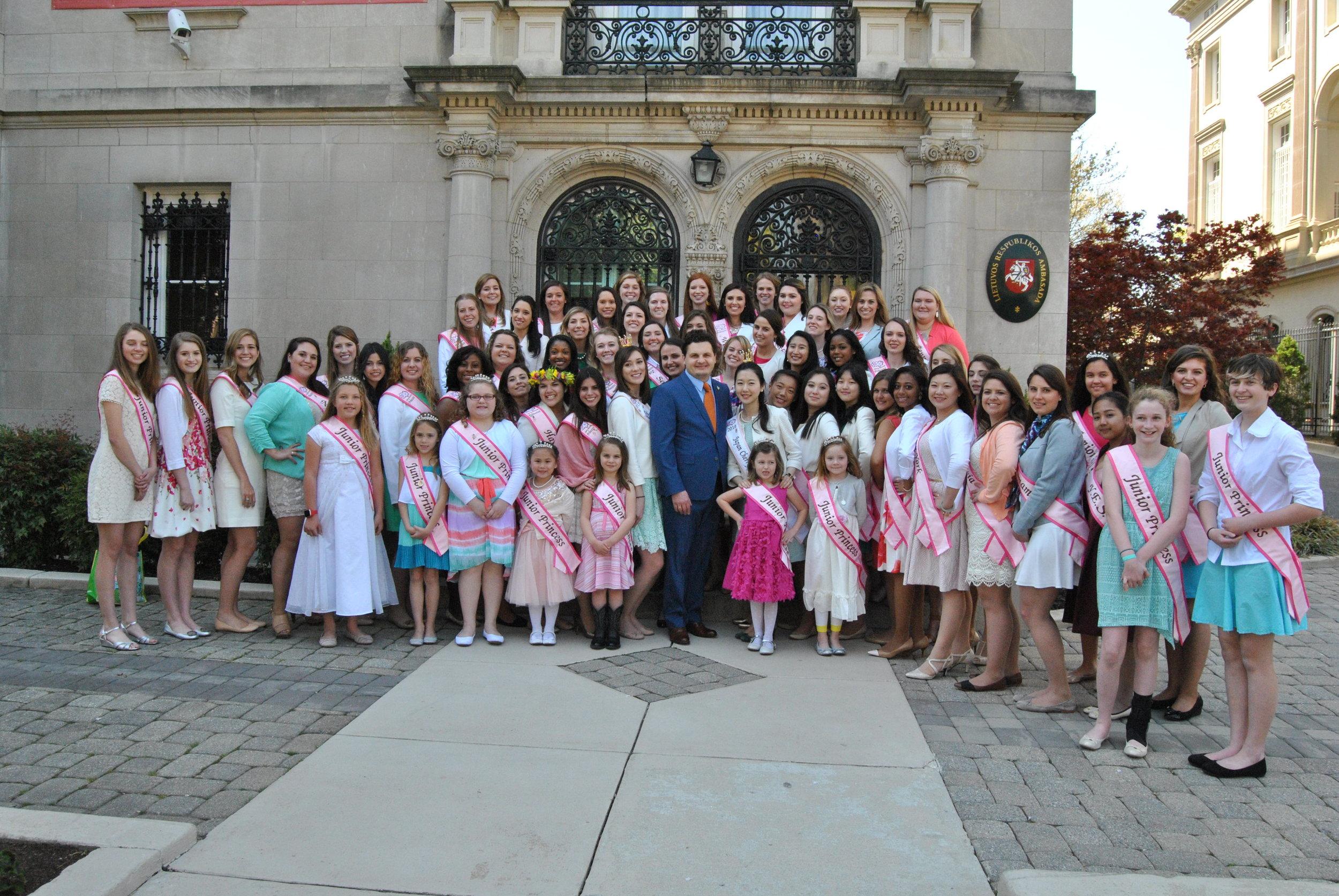 2016 Junior Cherry Blossom Princesses and Cherry Blossom Princesses at the Lithuanian Embassy