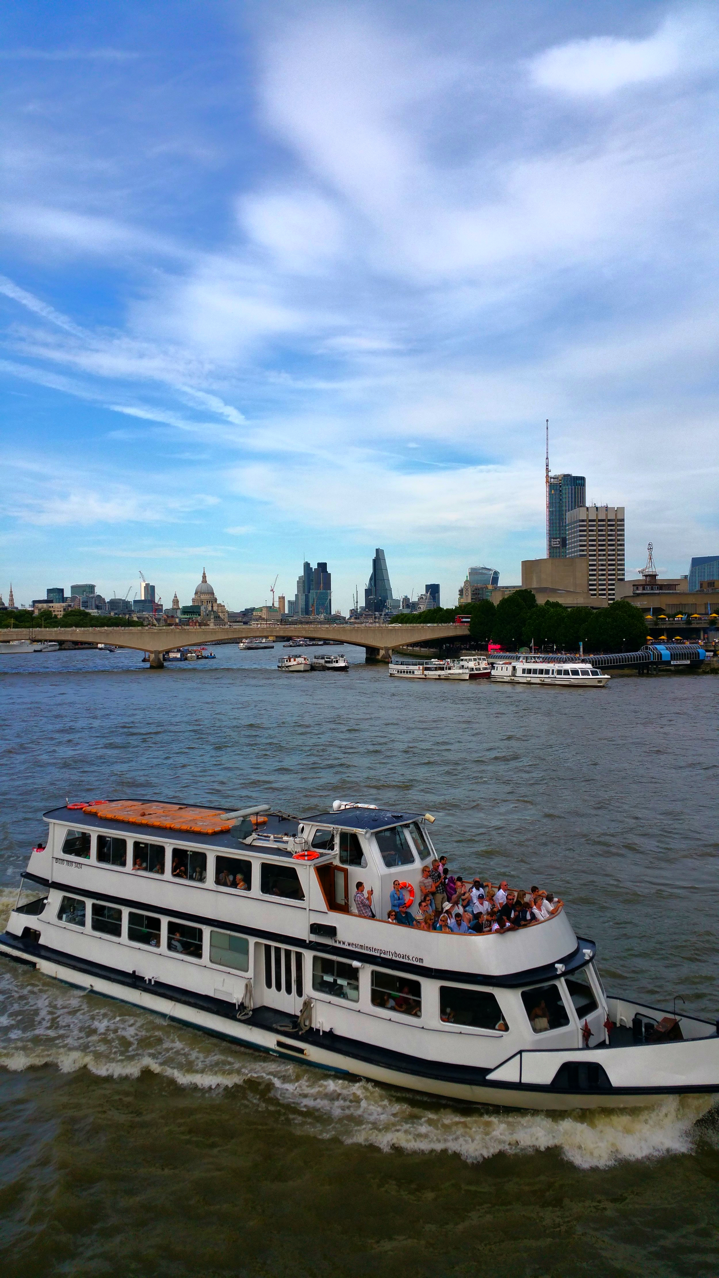 Sightseeing by boat on the Thames