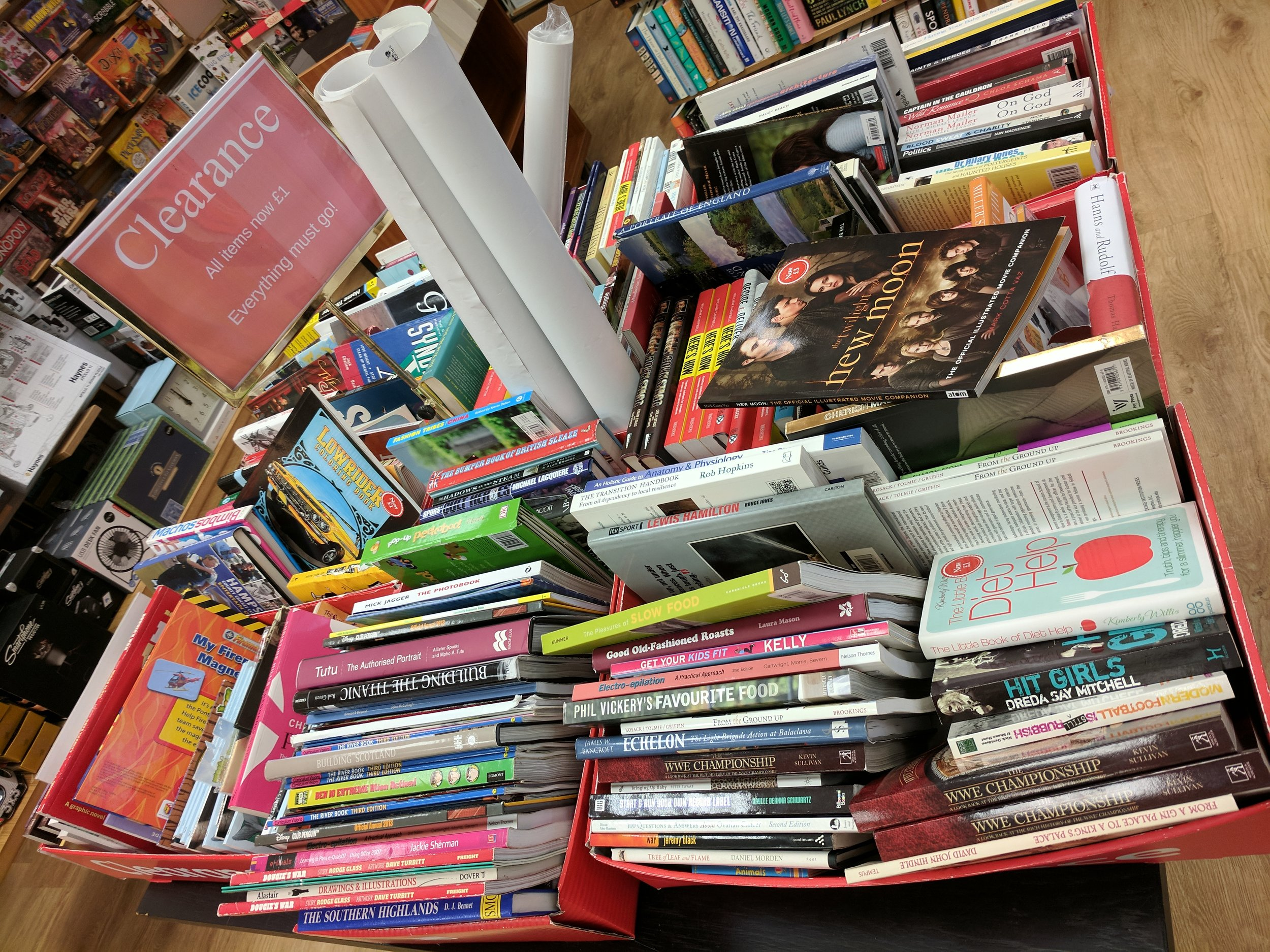 A now regular sight on the Waterstones shop floor - the bargain bin appeared from mid 2017 onwards.