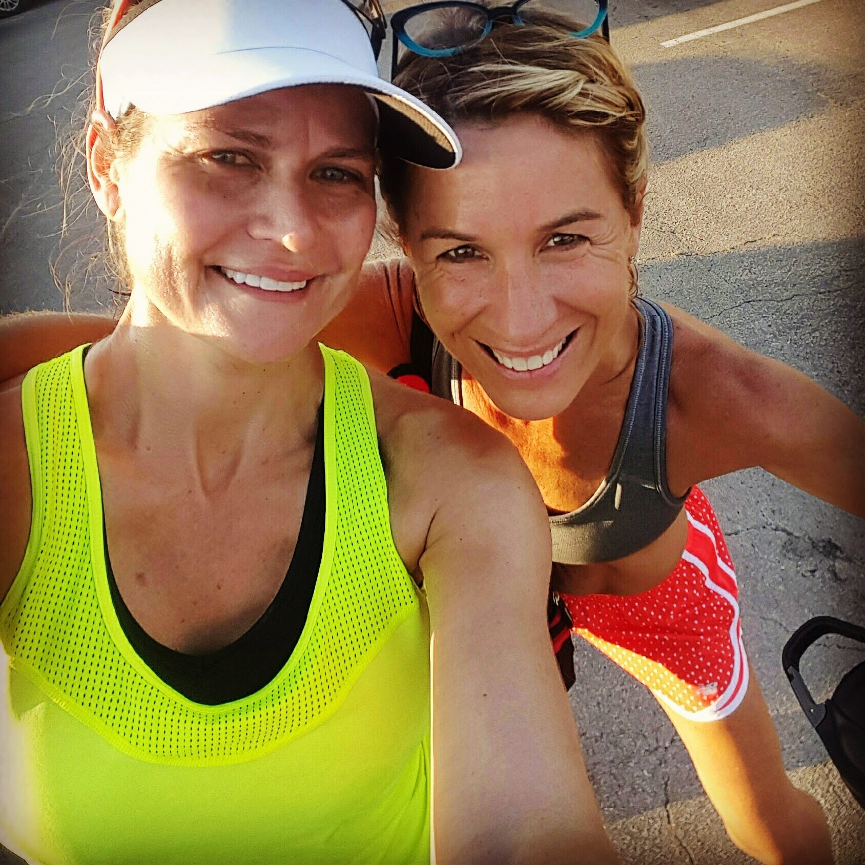 Amy Stucky (left) is a supportive force in the local running community. She has run several marathons including NYC and Boston. She recently obtained her RRKC coaching certification and assists Head Coach Amy with runs.