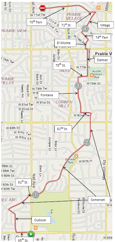 A 10 mile run north from the Overland Park/Prairie Village boarder to the Village Shops