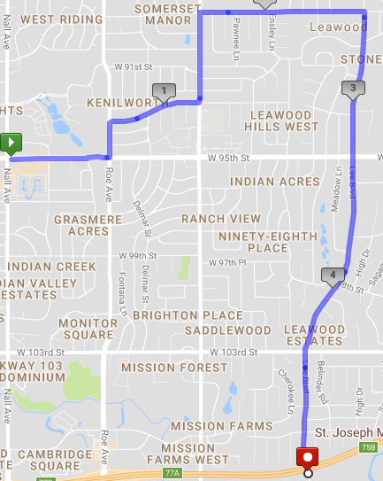 A 10 mile course from PV to Leawood
