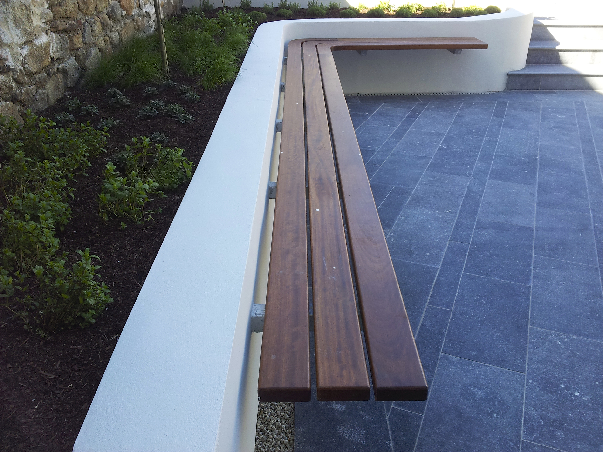 suspended garden bench