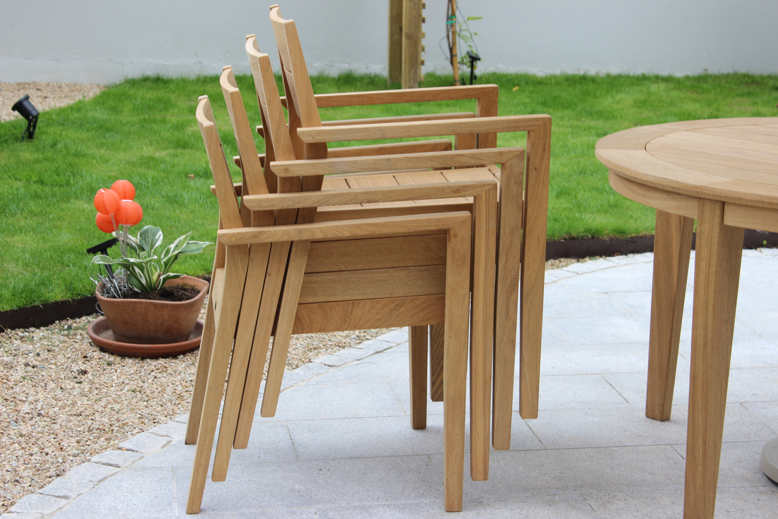 stacked Garden chairs
