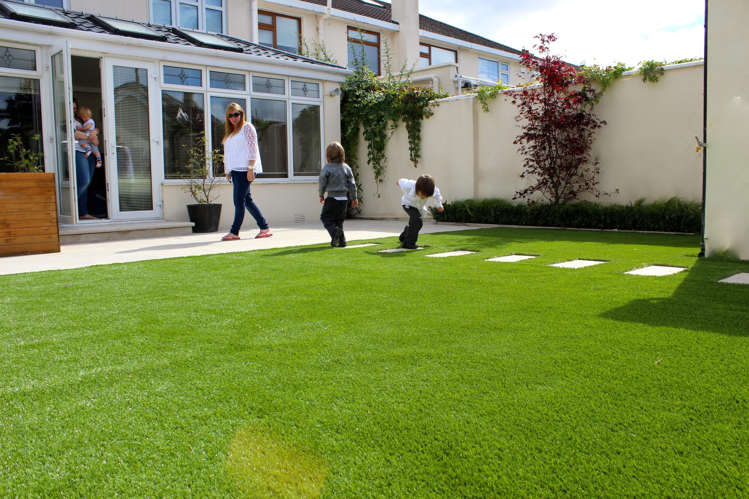 Kid running onto turf