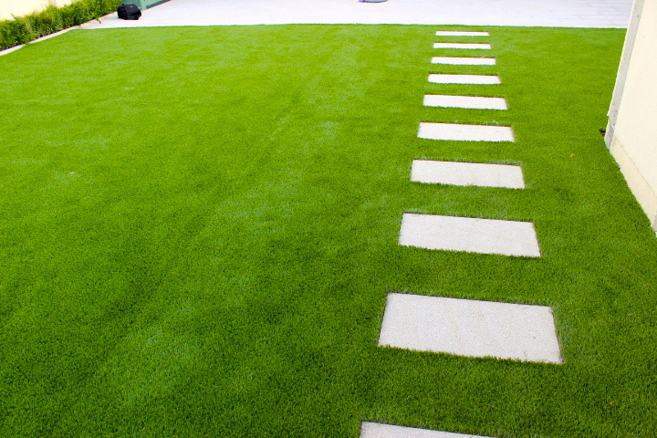 synthetic lawn and stepping stone