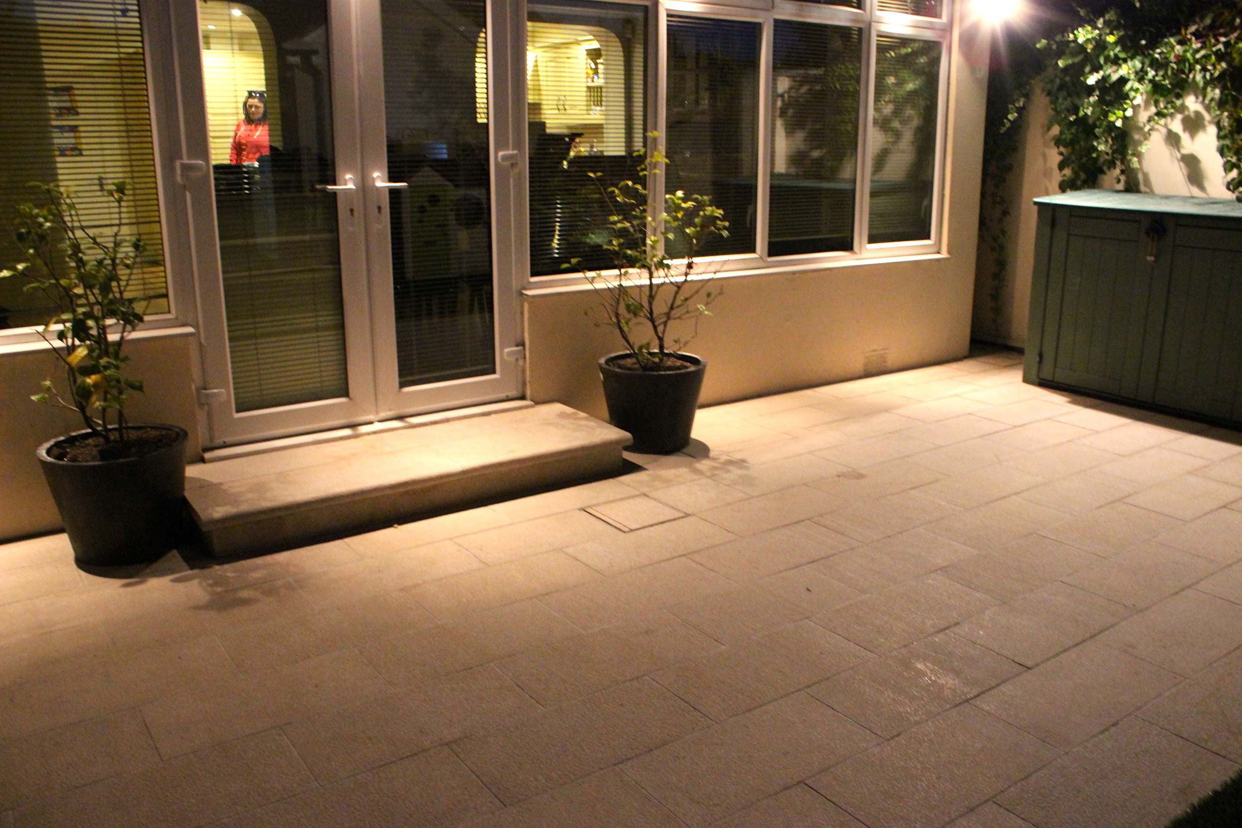 Gold Granite step and lights