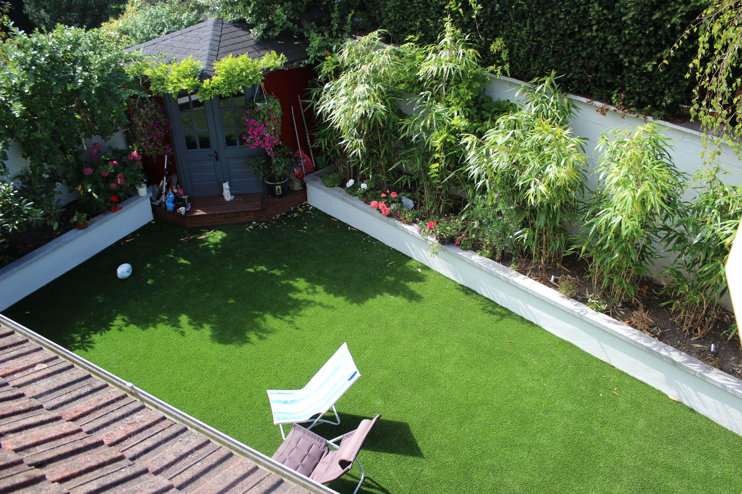 bamboo and artificial grass