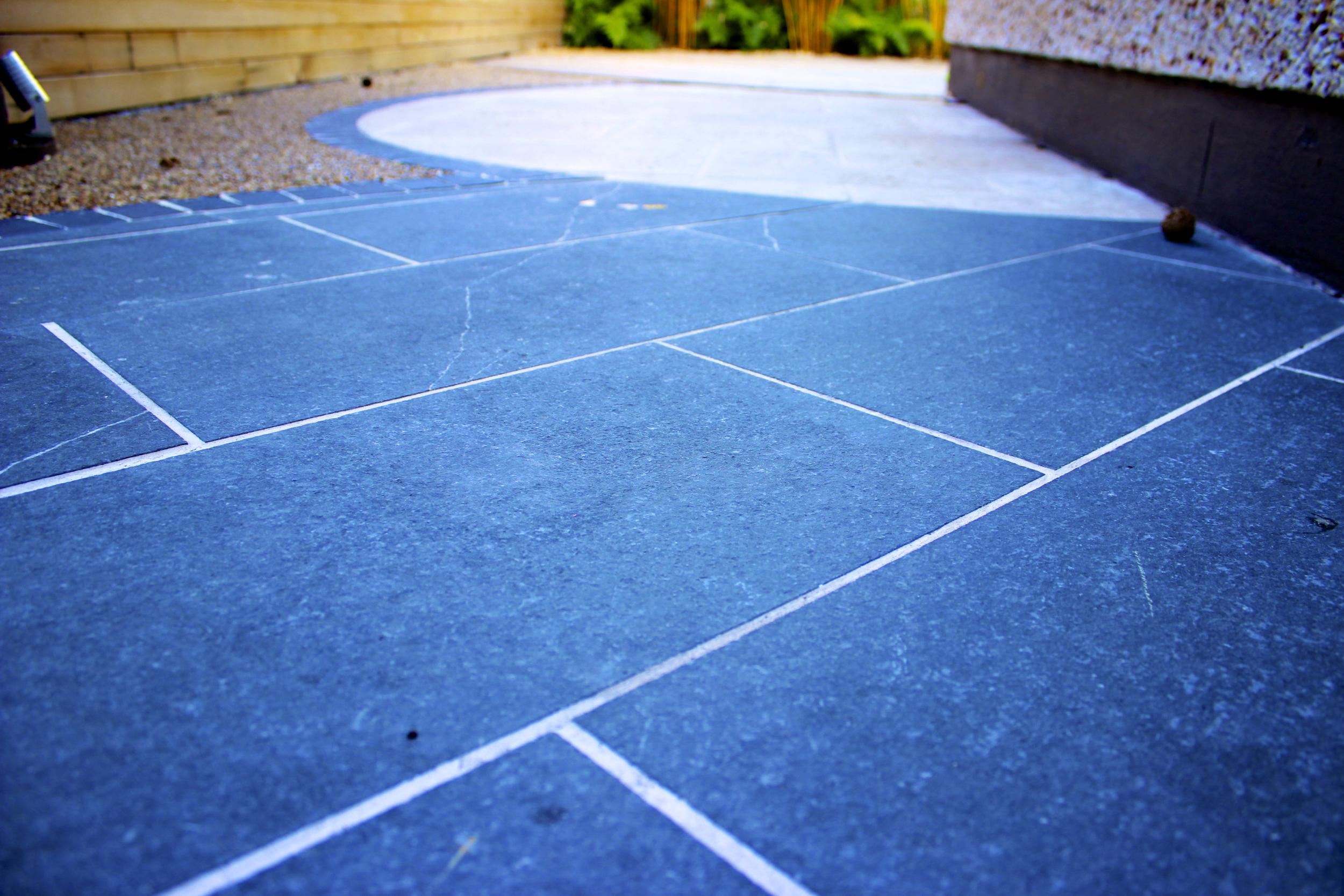 close up of limestone pavers