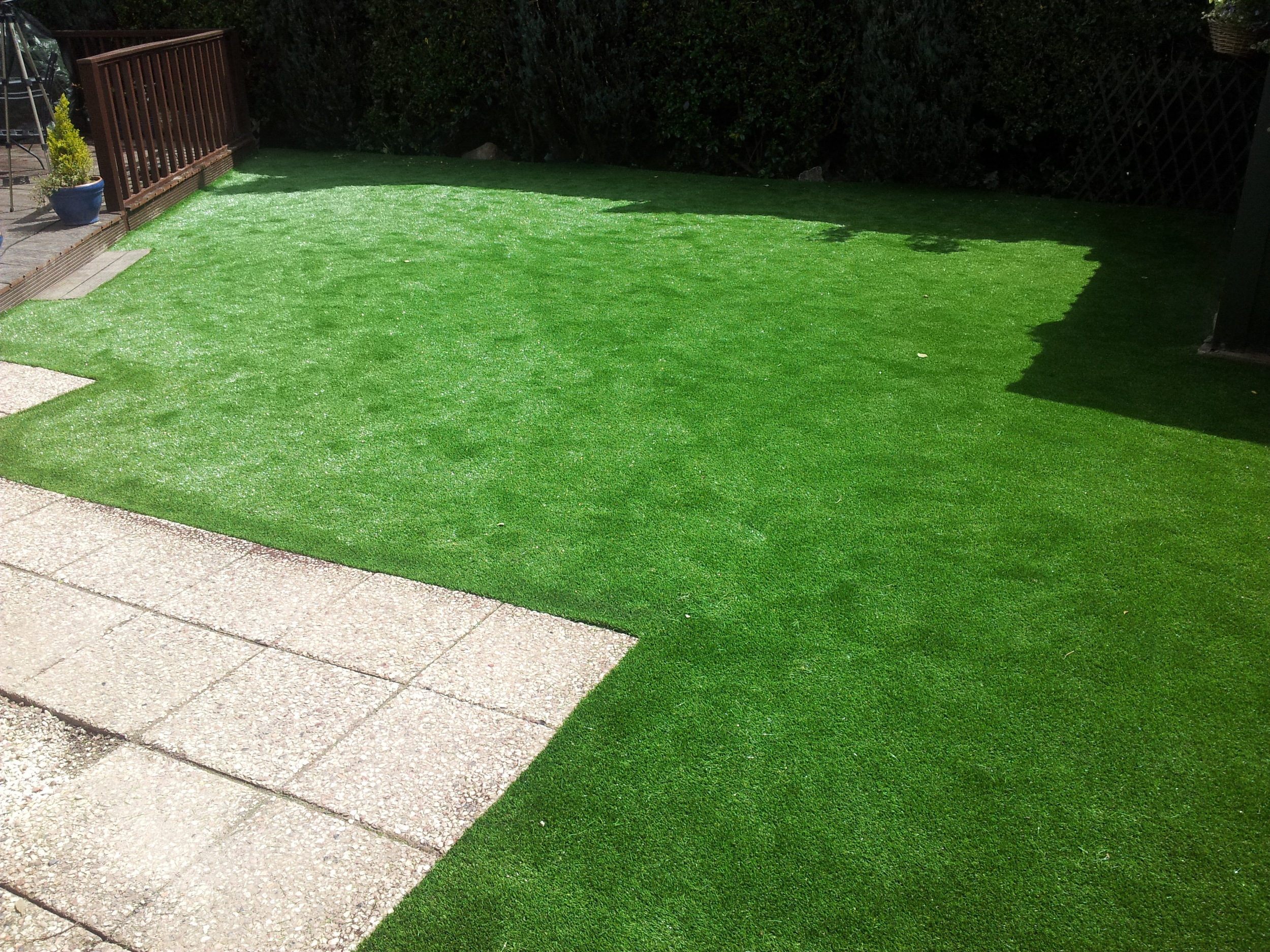 paving and artificial lawn turf