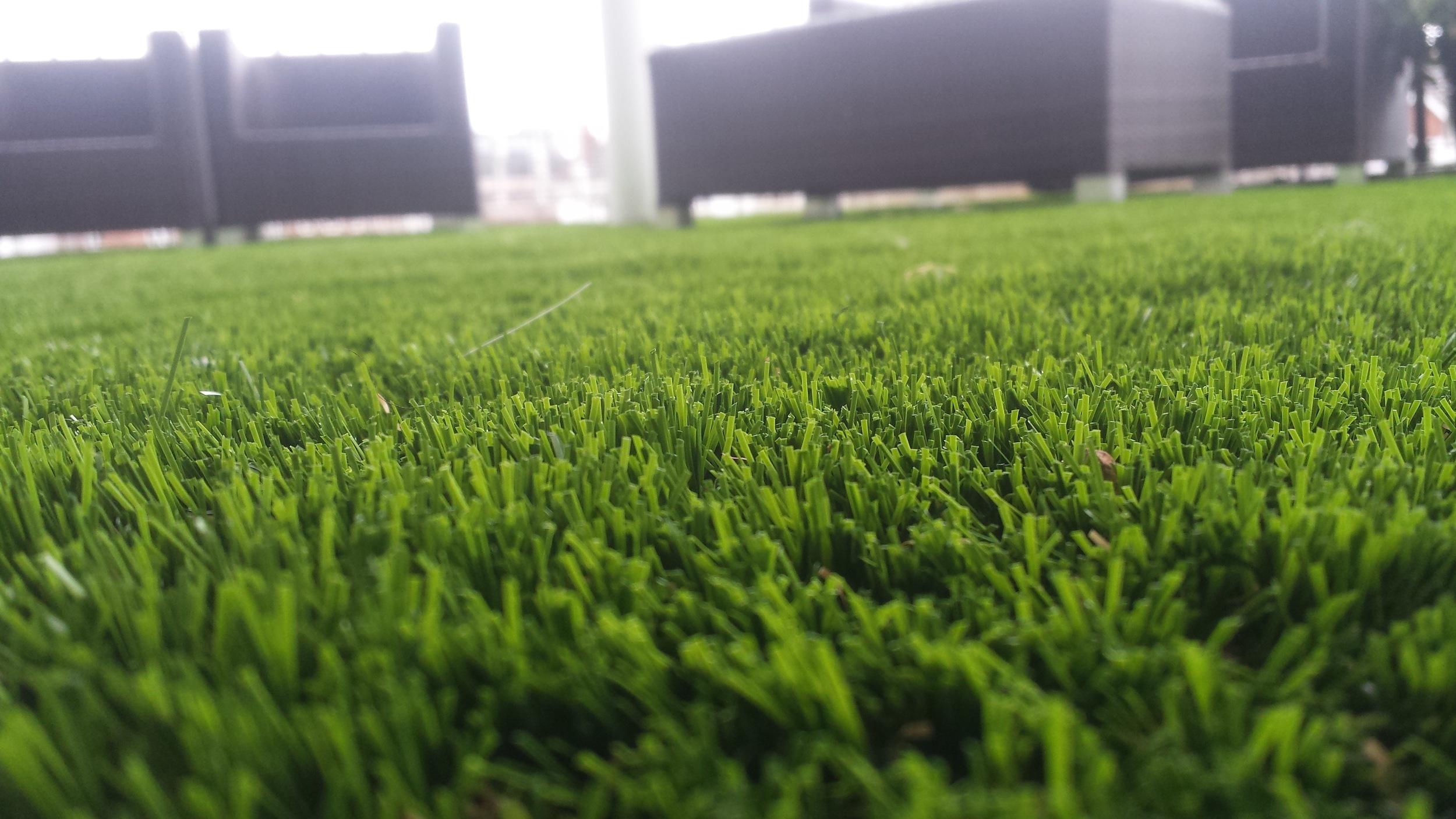 close up of artificial balcony grass