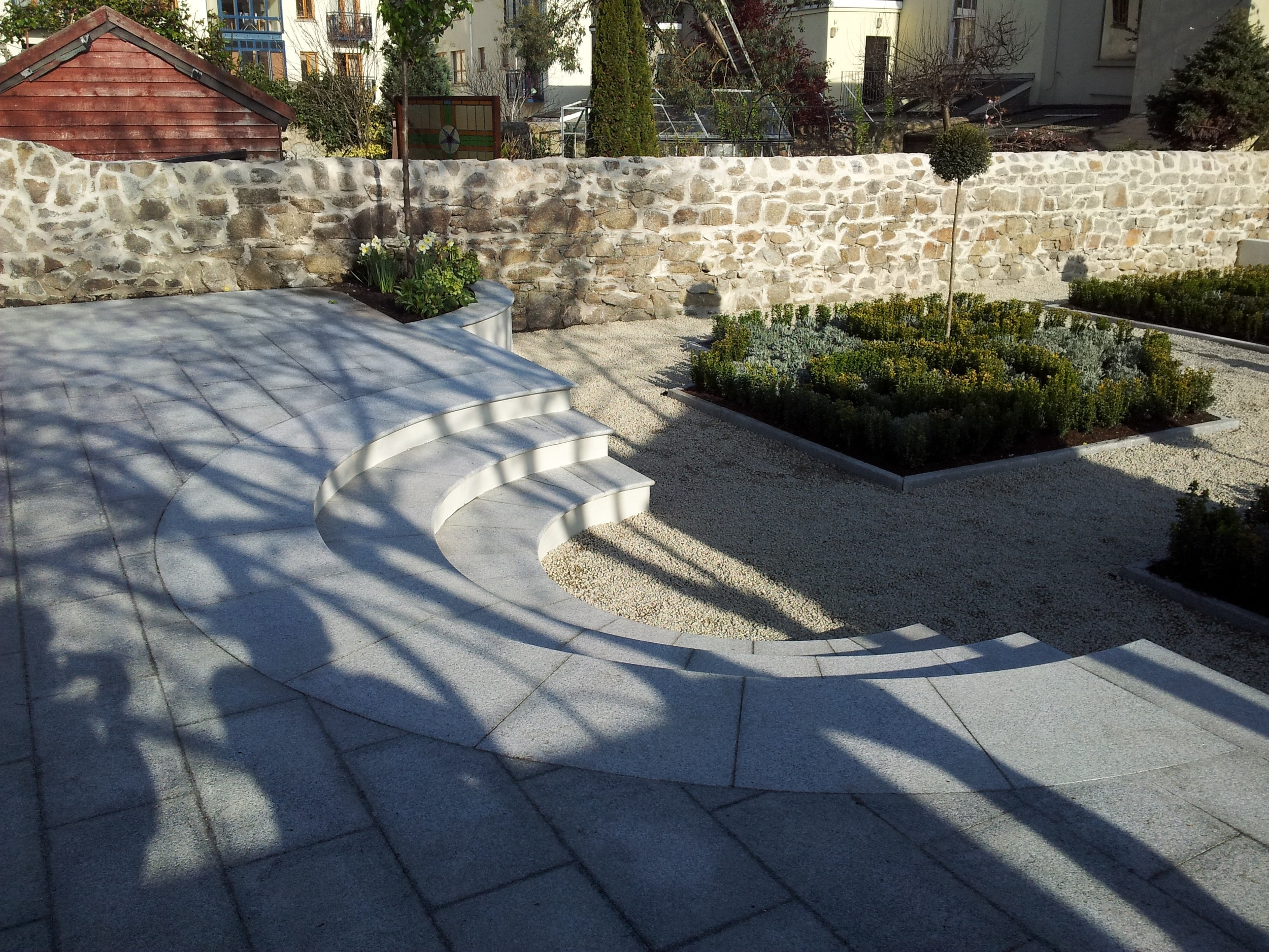 Curving steps to lower terrace