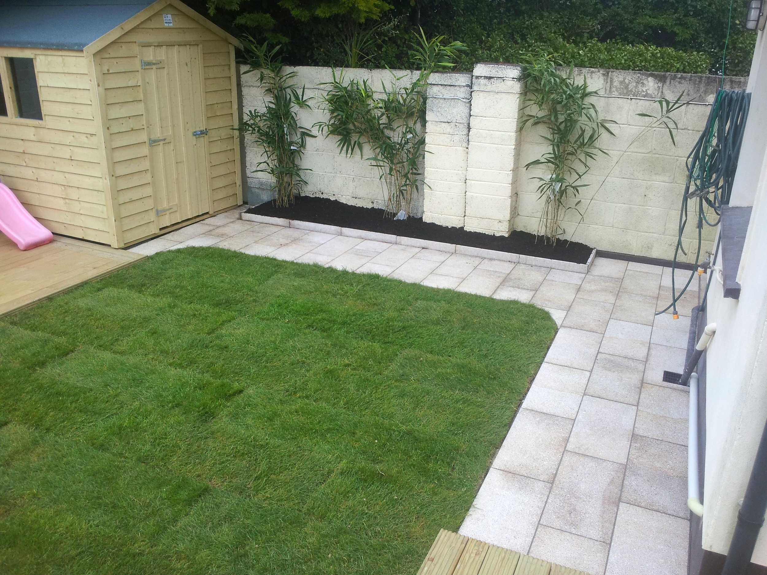 shed paving and lawn