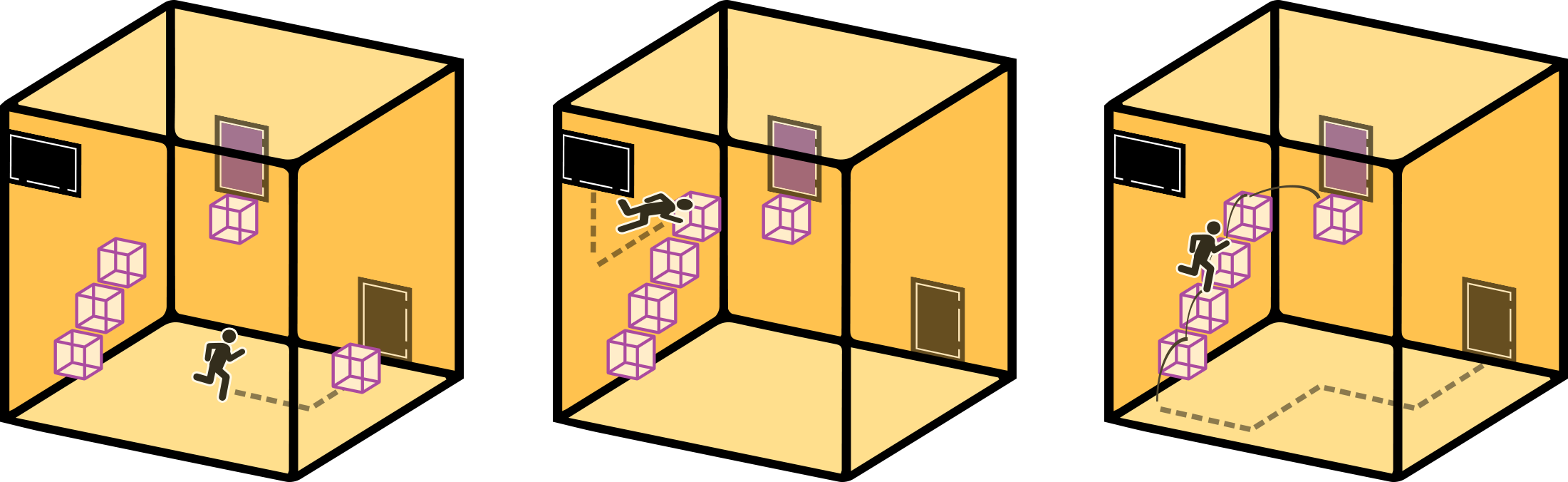 A conceptual illustration of a movable cube mechanic. The player can carry cubes through portal doors, changing their gravitational orientations and allowing the player to use them as a staircase.