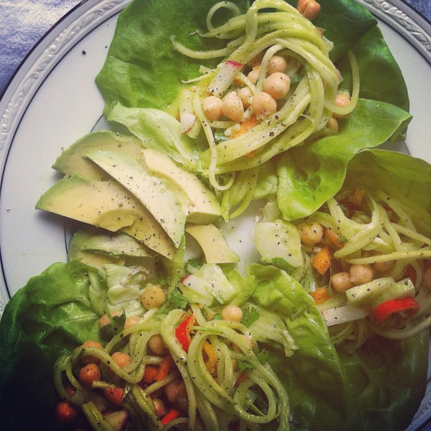 lettuce cups and basil dressing