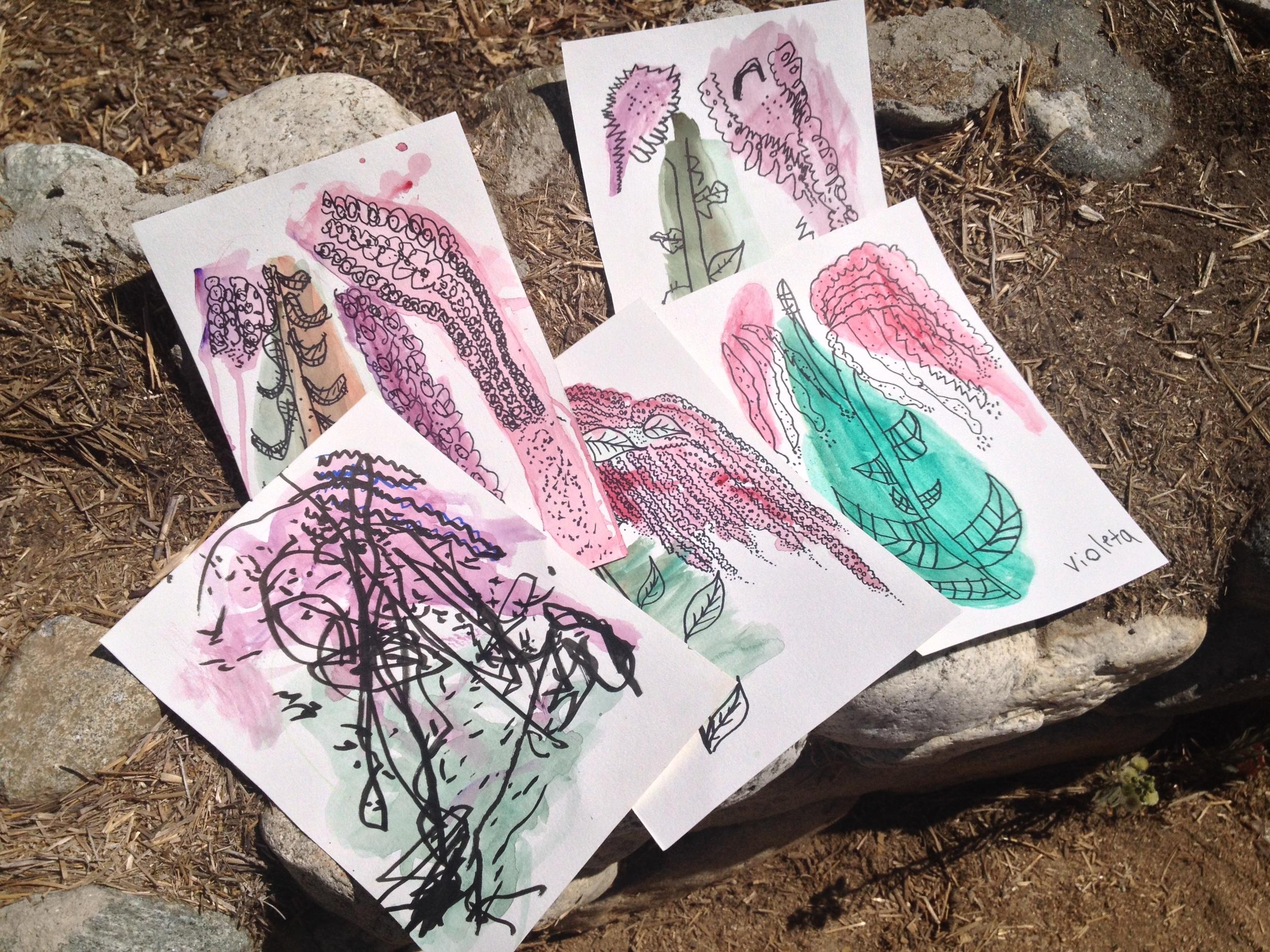 Milagro Allegro Community Garden, Highland Park, California 2015- painting class given by guest artist Sabrina Sosa