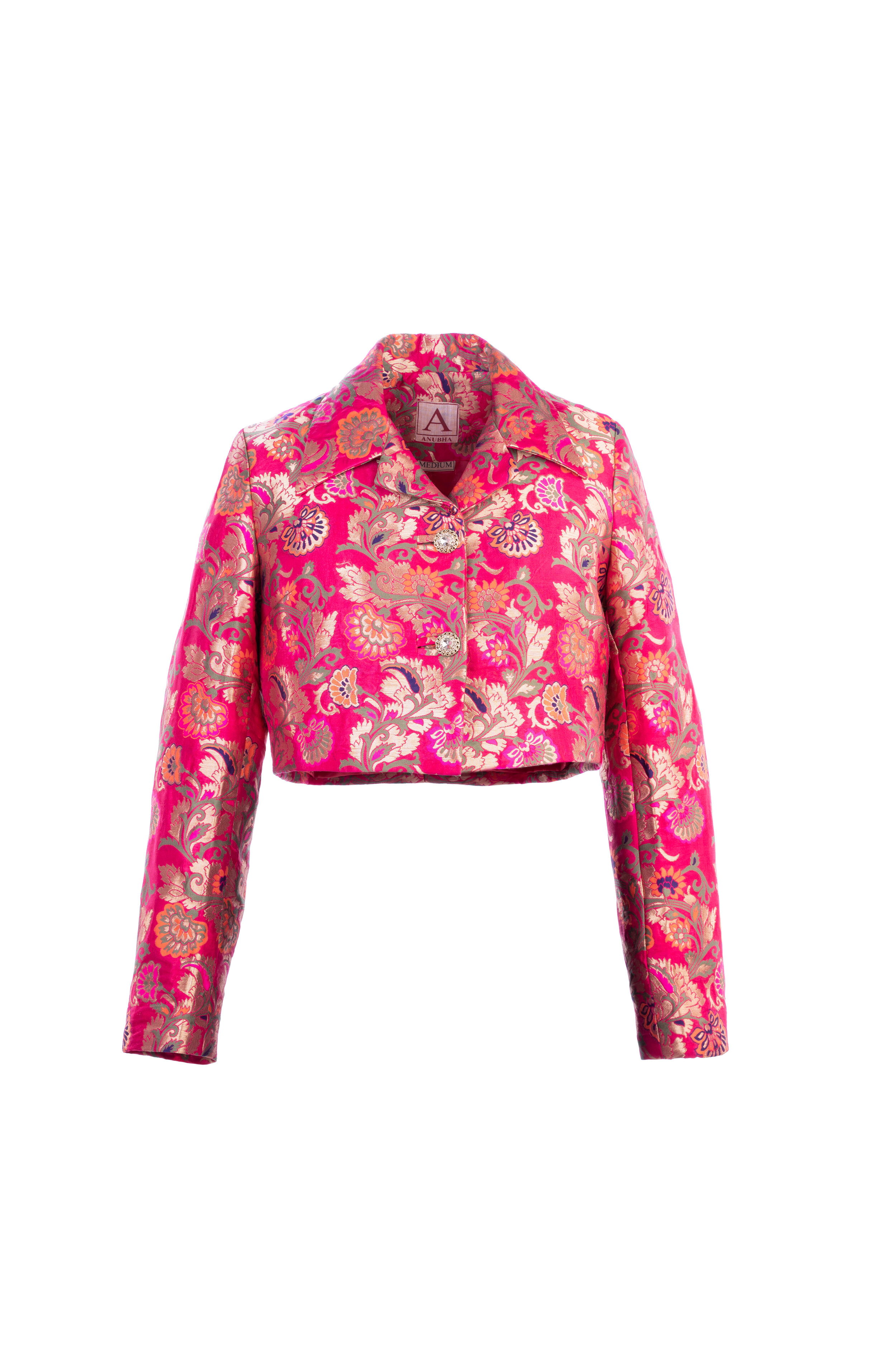 Brocade Jacket, Jacket , Jacquard Jacket , Fuchsia Pink , Pink Jacket —  AbyAnubha