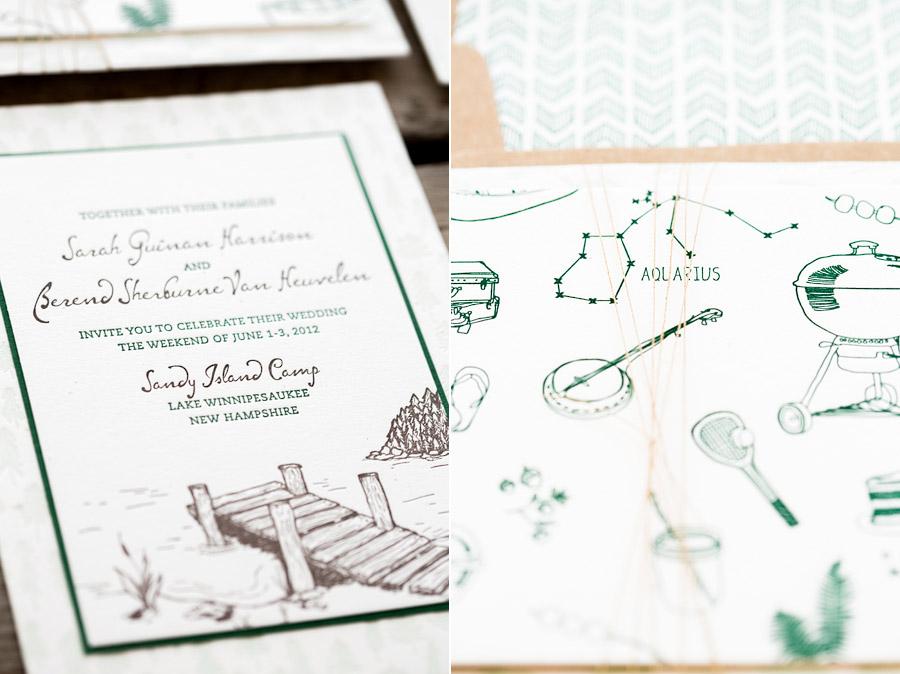 Sandy Island Camp Wedding Invitation Detail