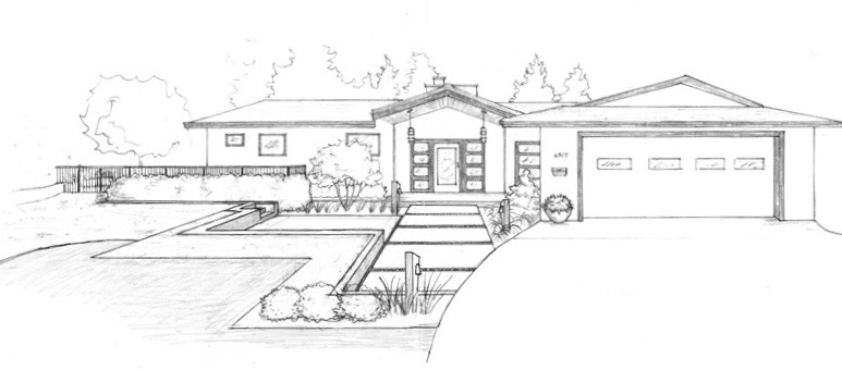 Front Yard perspective sketch
