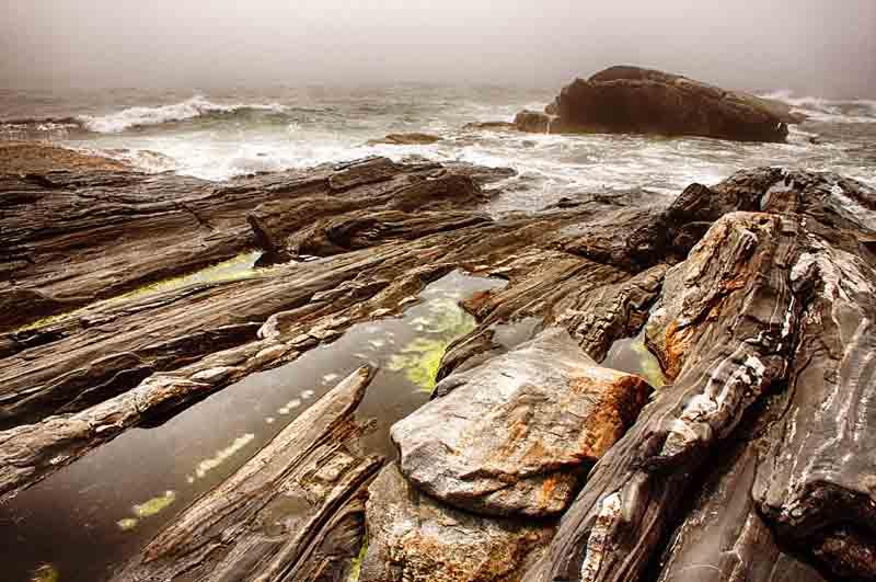 Pemaquid Point - Dramatic Rocks in Fog