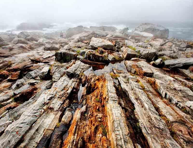 Pemaquid Point - Dramatic Rocks in Fog II