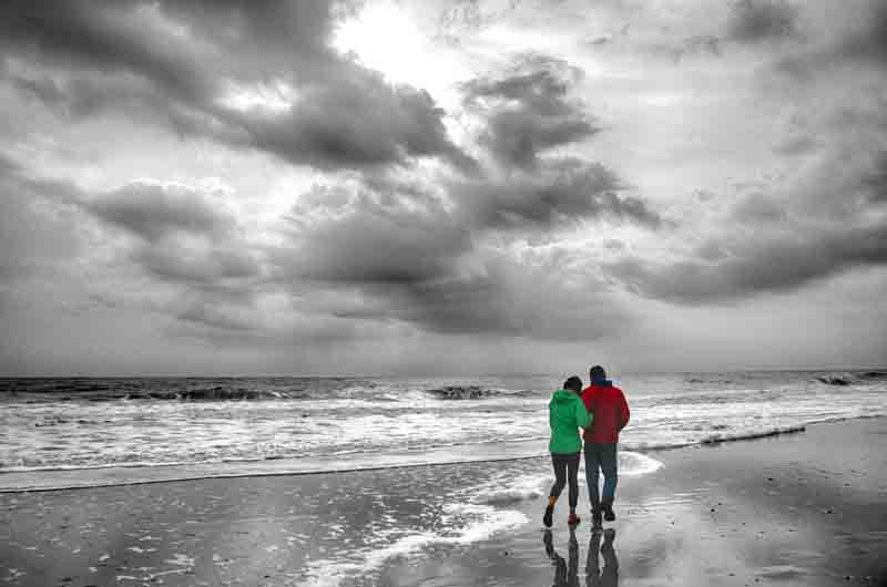 Father and Daughter on Winter Beach