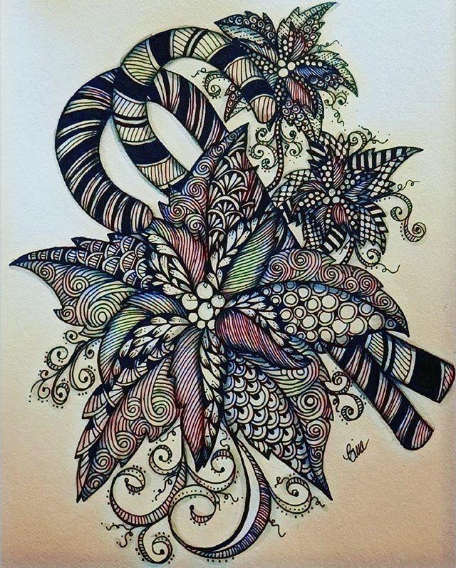 Tis the season to be merry... #candycane #pointsettia #zentangle #lovezen #zendoodle  #zenart #artgallery #artstagram #inkartist #ink #freehand #sketch #instartpics #instagram #mandala #zentanglekiwi  #mandalauniverse #mandalala #zen #drawing #colors #zendala #artistoninstagram #christmastime