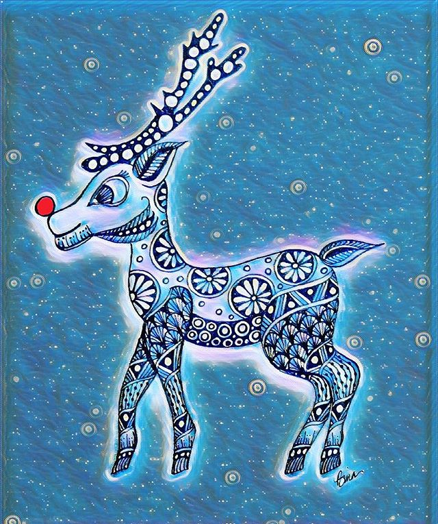 Hope Rudolph has guided Santa's sleigh to everyone's home with gifts of cheer and love!  #rudolphtherednosedreindeer #christmas #christmastime #zentangle #zen #drawing #doodle