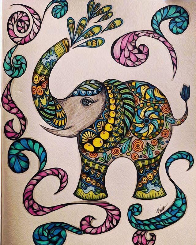 ZenElephant  #zentangle #lovezen #zendoodle  #zenart #artgallery #artstagram #inkartist #ink #freehand #sketch #instartpics #instagram #mandala #zentanglekiwi  #mandalauniverse #mandalala #zen #drawing #colors #zendala #artistoninstagram #elephant #coloringtherapy