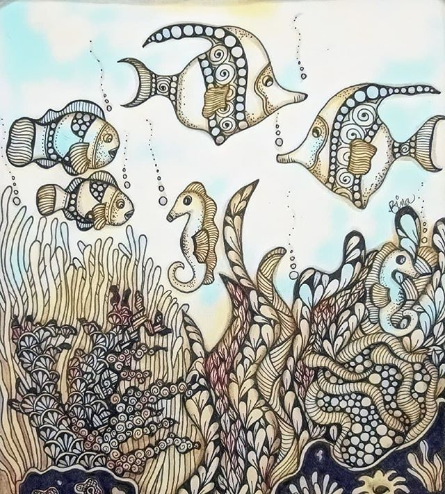 Zen Aquarium.... #zentangle #fish #aquarium #drawing  #ink #doodles #fishtank #art #zendoodle #lovezen #zendoodle  #zenart #artgallery #artstagram #inkartist #freehand #sketch #instartpics #instagram